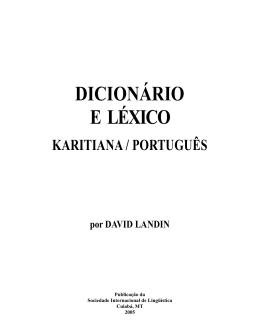 Dicionário e Léxico Karitiana/Português