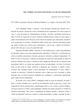 RELATÓRIO ANALÍTICO DO FILME O CLUBE DO IMPERADOR