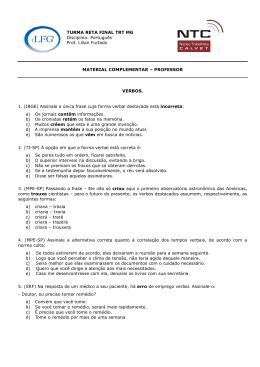 TURMA RETA FINAL TRT MG Disciplina: Português Prof. Lilian