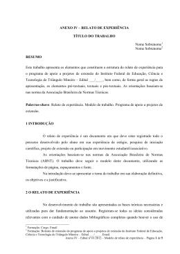 ANEXO IV – RELATO DE EXPERIÊNCIA TÍTULO DO