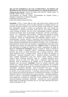 RELATO DE EXPERIÊNCIA DE UMA NUTRICIONISTA NO