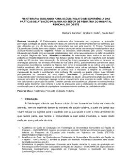 FISIOTERAPIA EDUCANDO EM SAÚDE: RELATO