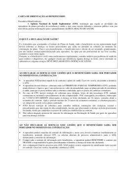 CARTA DE ORIENTAÇÃO AO BENEFICIÁRIO Prezado(a)