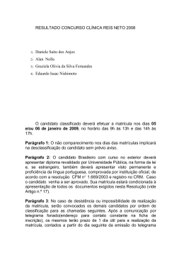 RESULTADO CONCURSO CLÍNICA REIS NETO 2008 1) Daniele