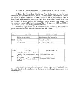 Resultado do Concurso Público para Professor Auxiliar