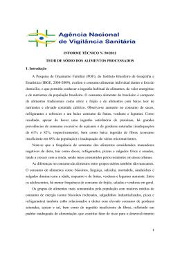 INFORME TÉCNICO N. 50/2012 TEOR DE SÓDIO DOS