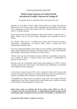 Paulo Gonzo regressa ao Casino Estoril em noite de Grande