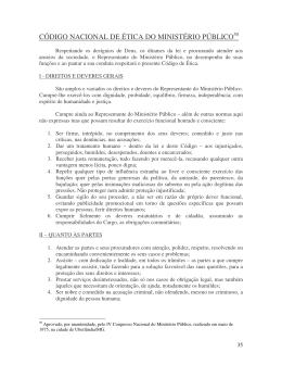 CÓDIGO NACIONAL DE ÉTICA DO MINISTÉRIO PÚBLICO50