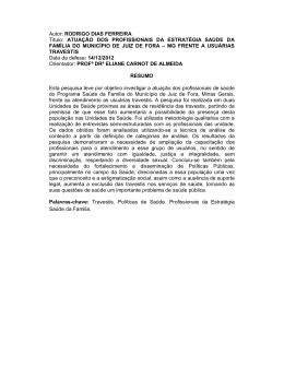 Autor: RODRIGO DIAS FERREIRA Título: ATUAÇÃO DOS