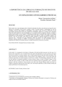 A IMPORTÂNCIA DA LIBRAS NA FORMAÇÃO DO DOCENTE