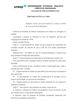 PORTARIA D.FCF/CAr nº 30/96 Estabelece normas para