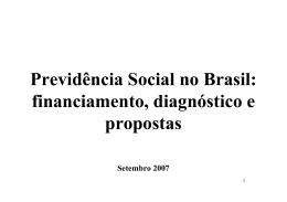 Previdência Social: Diagnóstico e Propostas de Reforma.