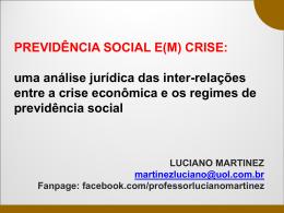 PREVIDÊNCIA SOCIAL E(M) CRISE: uma análise jurídica das inter