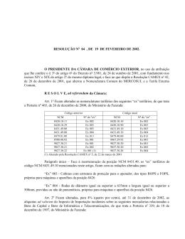 Resolução Camex 04 de 2002 - Ministério do Desenvolvimento