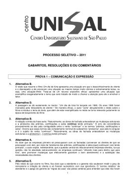 processo seletivo – 2011 gabaritos, resoluções e/ou comentários