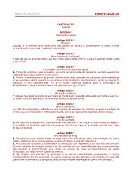 DIREITO LOCATIVO DIREITO LOCATIVO CAPÍTULO IV
