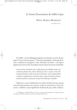 As Armas Desarmantes de Adília Lopes Rosa Maria Martelo