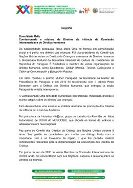 Biografia Rosa Maria Ortiz Comissionada e relatora de Direitos da