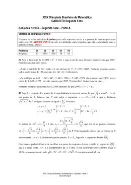 XXIX Olimpíada Brasileira de Matemática GABARITO Segunda Fase