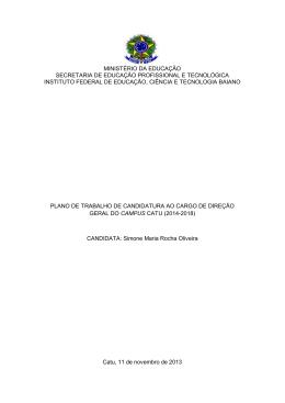 Plano de Trabalho Simone Maria Rocha Oliveira