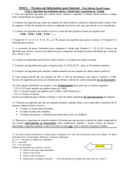 EXERCÍCIOS Algoritmos II