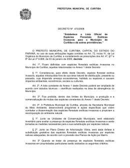 """DECRETO Nº 473/2008 """"Estabelece a Lista Oficial de Espécies"""