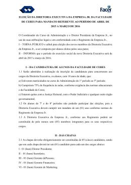 ELEIÇÃO DA DIRETORIA EXECUTIVA DA EMPRESA JR