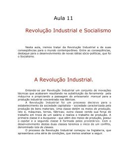 Aula 11 Revolução Industrial e Socialismo A