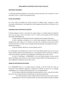 REGULAMENTO DO SORTEIO DA NOTA FISCAL PAULISTA