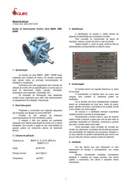 1 Manual de Serviço nº bmar, bmr, bdmr 2007 03
