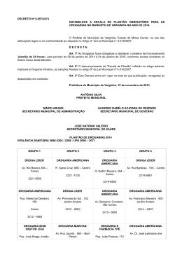 Farmácias de Plantão - Prefeitura de Varginha