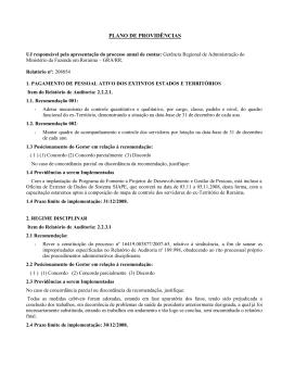 ANEXO IV - MODELO DE PLANO DE PROVIDÊNCIAS