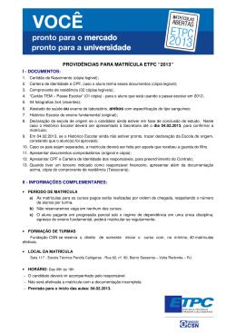 """PROVIDÊNCIAS PARA MATRÍCULA ETPC """"2013"""""""