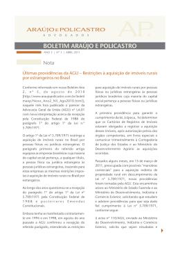 Últimas providências da AGU – Restrições à aquisição de imóveis