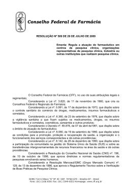 Resolução nº 509 - Conselho Federal de Farmácia