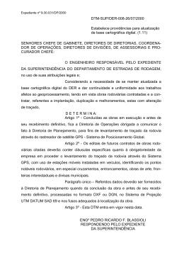 DTM-SUP/DER-008-26/07/2000 Estabelece providências para