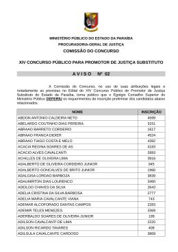 A V I S O     Nº 02 - Ministério Público da Paraíba