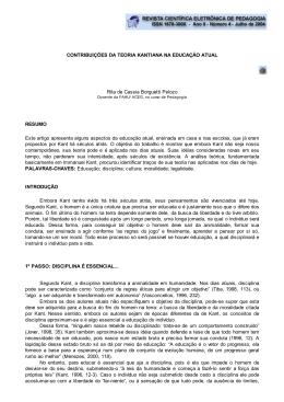 CONTRIBUIÇÕES DA TEORIA KANTIANA NA EDUCAÇÃO ATUAL