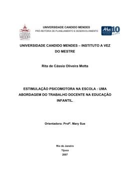 INSTITUTO A VEZ DO MESTRE Rita de Cássia Oliveira Motta