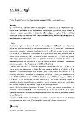 ausência de índices e parâmetros urbanísticos - CCDR-N
