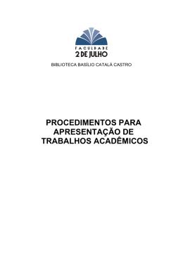 procedimentos para apresentação de trabalhos acadêmicos