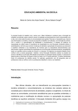 EDUCAÇÃO AMBIENTAL NA ESCOLA Resumo Introdução
