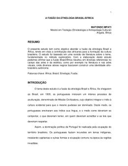 A Fusão da Etnologia Brasil/África. Matondo MPati.