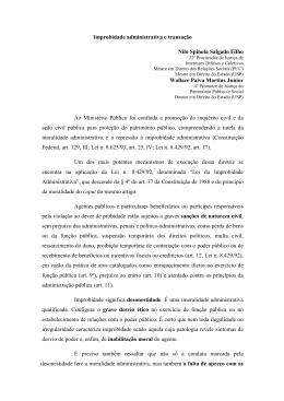 Improbidade administrativa e transação Nilo Spinola Salgado Filho