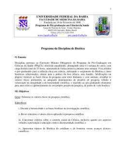 Baixe o Programa da disciplina - Programa de Pós