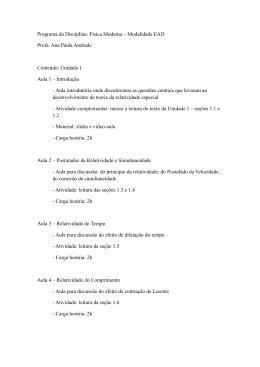 Programa da Disciplina: Física Moderna – Modalidade EAD