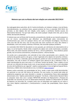 Meteoro que caiu na Rússia não tem relação com asteroide 2012