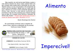 Alimento Imperecível! - Primeira Igreja Batista em Itaocara