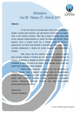Informativo 25 – Abril de 2010