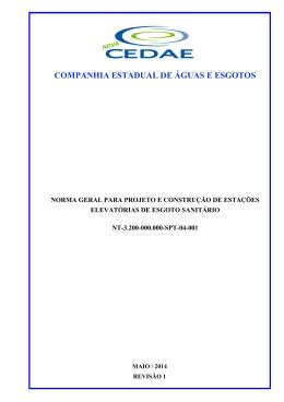 Estações Elevatórias de Esgoto - Normas para Construção